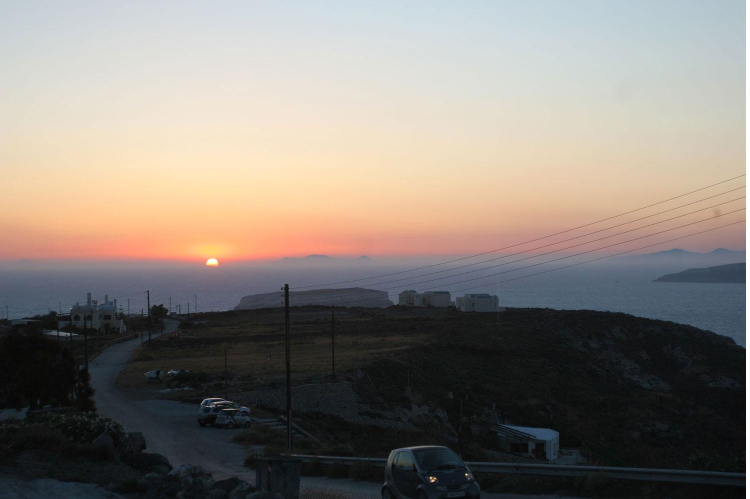 Coucher de soleil sur la pointe sud, Santorin