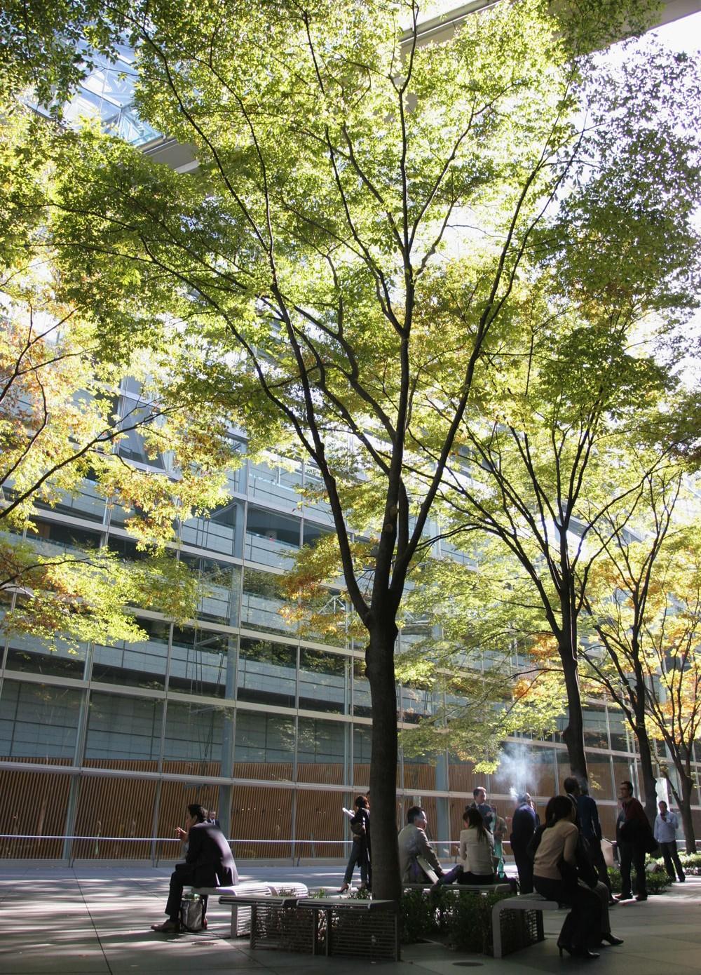 Espace fumeur d'un quartier de bureaux, Tokyo