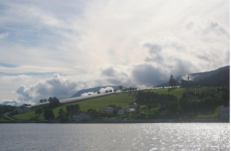 Vue de Vangsnes depuis le bac